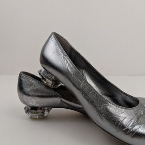 Marc Jacobs Silver Flats with Crystal Heel Size 9